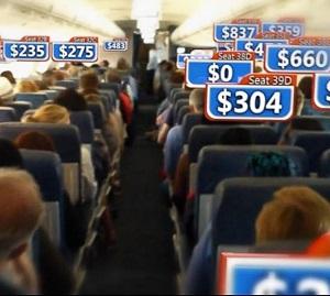 Samma plats i planet kan ha olika biljettpriser.